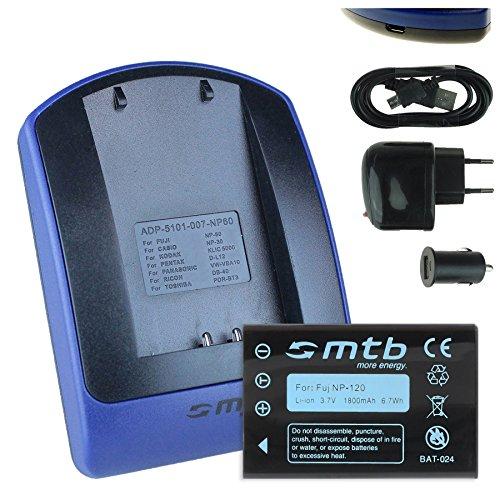 Akku + Ladegerät (Netz+Kfz+USB) NP-120 für Fuji F10, F11, M603 / Aiptek Medion Rollei Toshiba Pentax... siehe Liste!