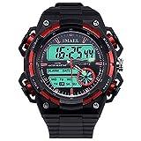 Beydodo Reloj Impermeable Reloj de Estudiante Reloj Deportivo Reloj de Doble Pantalla Reloj Hombre Moda Relojes Electronicos Negro Rojo