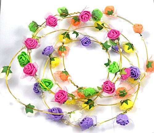 Evisha Floral Colourful Tiara/Crown/Headband/Theme Party/Pool Party/Party Prop, Pack of 6