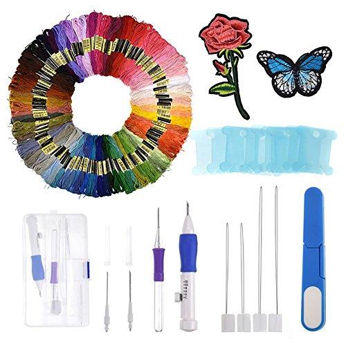 flower205 DIY-Stickset Stickgarn mit 100 Farben Stickerei Handwerk Freizeit Kunst Kreuzstich Stickgarn Nähgarn -
