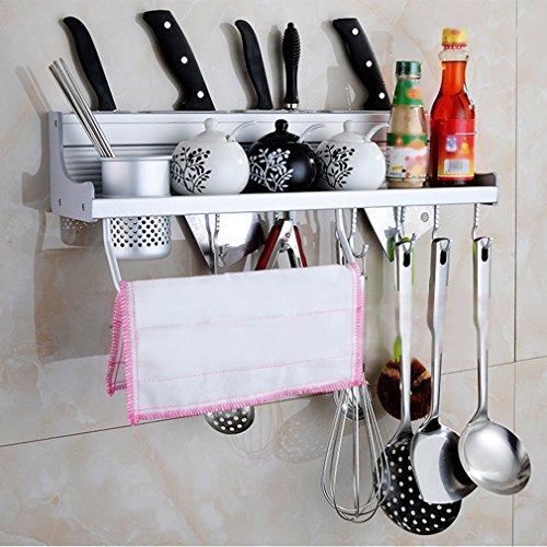 Cartkningts Kitchen Shelf Rack, Multi-Functional Wall Hanging Aluminum Pan Pot Rack Kitchen Utensils Hanger Organizer Include Spice Rack,Towel Rack and other Kitchen Gadgets, Silver (50cm-1Cups)