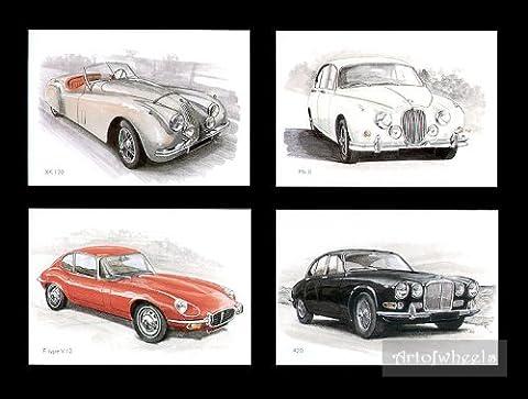 Classique Jaguar voitures Cartes Postales–Xk120MK2MKII Jaguar E-Type XKE V-12420