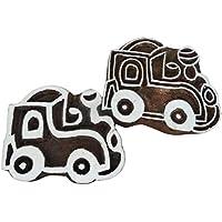 indian legno stampa forma treno ceramica tessile francobolli pittura tessuto francobolli blocchi (Blocchi Treno)