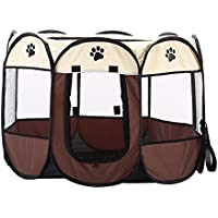 Juguete para mascotas, portátil, plegable, resistente al agua, 8 lados de malla para cachorro, gato, conejo, ejercicio, caseta con cremallera para viajar, acampar al aire libre, interior