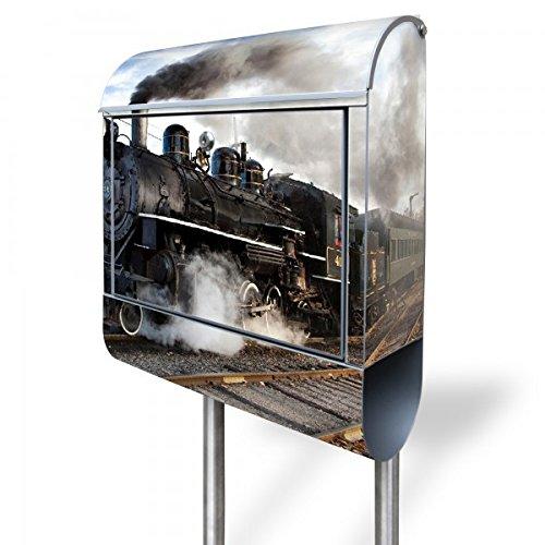 banjado - Briefkasten mit Edelstahl Ständer 38x150x12cm Postkasten mit Motiv Dampflok