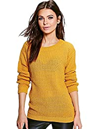 97cb2074c7b9fe Womens Ladies Baggy Long Sleeve Knitted Plain Chunky Top Sweater Jumper S-XL