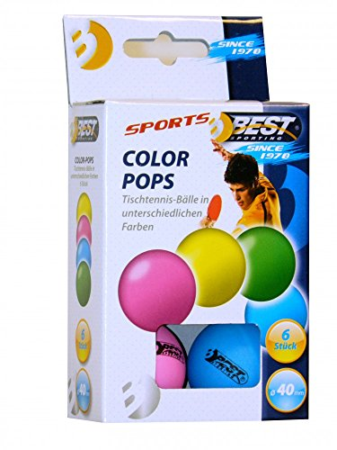 Ping-pong-bälle Farbig (Best Sporting neon bunte Tischtennisbälle Color Pops 6 Stk.)