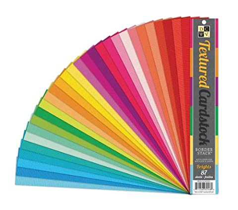 DCWV Border Stack, Textured Cardstock, Brights, 87 Strips, 2 x 12 inches by DCWV Home