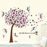 Walplus (TM) Wall Stickers Combo Huge Pink Tree Plus Fairies - Home Decoration, 175cm x 150 cm, PVC, Self-Adhesive, Multi-Color