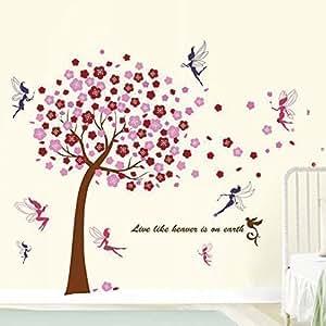 Walplus Grand arbre WS6038 Rose + WS5020 Lot de 2 stickers muraux Fées Multicolore