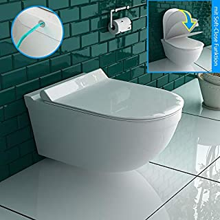 Shower toilet, hanging toilet with bidet, Taharet function of sanitary ware with thermosetting toilet seat incl.Soft close function matching Geberit.