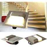 SKOFF LED Treppenbeleuchtung 7er Set TANGO (2er bis 7er Set) Edelstahl gebürstet. Lichtfarbe: warmweiss, 10V 0,8W IP20. Wandbeleuchtung. Set inklusive 7 LED Leuchten u. 1 Trafo. Bitte wählen Sie die gewünschte Set Größe aus.