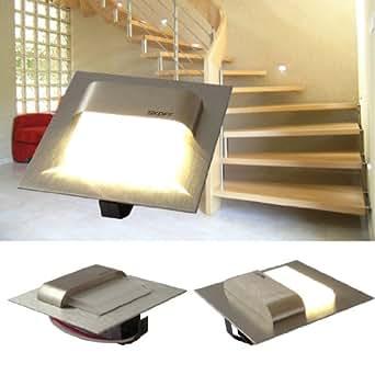 SKOFF LED Treppenbeleuchtung 9er Set TANGO (8er bis 14er Set) Edelstahl gebürstet. Lichtfarbe: warmweiss, 10V 0,8W IP20. Wandbeleuchtung. Set inklusive 9 LED Leuchten u. 2 Trafo. Bitte wählen Sie die gewünschte Set Größe aus.
