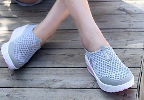 Solshine Damen Netz mit Keilabsatz Laufschuhe Sport Freizeitschuhe Atmungsaktiv Grau2
