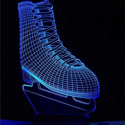 WANGJIA Neuheit Ice Blade Hockey Skate Schuhe 3D Led Lampe Acryl Multicolor Ändern Nachtlicht Sporting Boy Room Decor Kinder Spielzeug Geschenk -