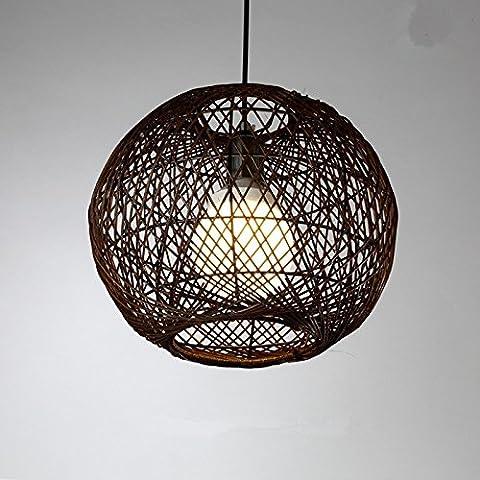 Simple Moderne Lustre Boule En Rotin Tissé À La Main Créative 5W Restaurant Chambres Boutique Vêtements Lustre Pastorale 300 * 250Mm, Brun