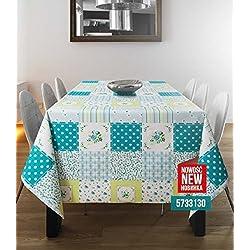 Azul, diseño de flores, diseño de Patchwork mantel por wjdhome. Limpiar mantel de hule PVC. Szie; 140cm x 200cm).