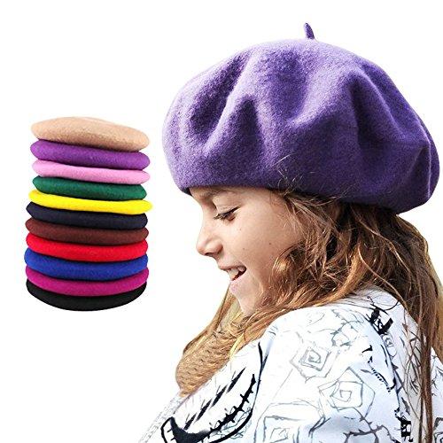 TININNA Beret Basques Chapeau Bonnet Calotte Feutre Laine Artiste Francais Hiver Chaud Hat Cap Rose