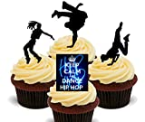 Keep Calm and Dance Hip Hop Edible Cupcake Toppers - Stand-up Wafer Cake Decorations by Made4You