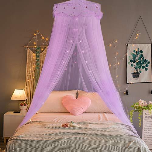 Lila Einzelbett (Jeteven Prinzessin Moskitonetz aus Spitze Himmelbett-Moskitonetz Spitzen-Betthimmel für Kinder Fliegen und Insekten-Schutz und Dekoration Höhe 240cm. violett)