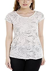 Spykar Womens Cotton Beige Regular Fit Tshirts (Large)