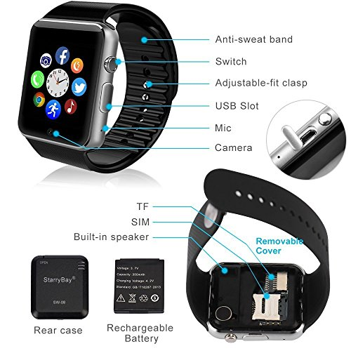 OPTA SW-008(Black/Black) Bluetooth Smart Watch Phone With Camera and Sim Card Support With Apps like Facebook and WhatsApp Touch Screen Multilanguage Android/IOS Mobile Phone Wrist Watch Phone with activity trackers and fitness band features compatible with Samsung IPhone HTC Moto Intex Vivo Mi One Plus and many others! Launch Offer!!