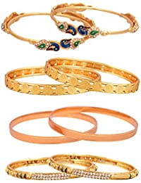 Sitashi Artificial Jewellery Gold Plated Combo Of 4 Bangles For Women And Girls