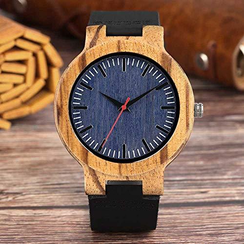 Liandd Retro Holz Uhr Männer Einzigartiges Zifferblatt Bambus Uhren Schwarz Sportuhr Männliche Quarz-Armbanduhr,Black Blue - Fossil Marmor