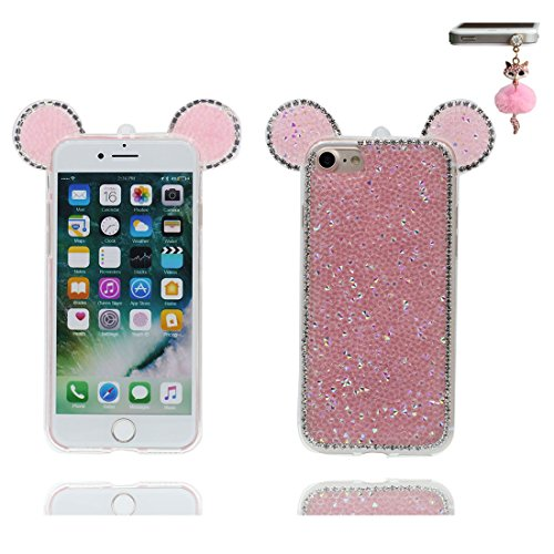 "Coque iPhone 6 6s Cover Cartoon 3D Oreille de souris, Light Slim Diamonds Bling Bead Transparent Cute iPhone 6 Étui iPhone 6S Case 4.7"" Poussière Poof & Bouchon anti-poussière Lovely Pink"