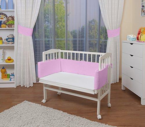 Waldin baby,lettino culla,altezza regolabile,paracolpi e materasso,in 16 varianti, bianco laccato,rosa