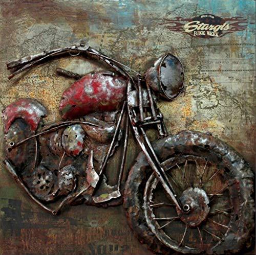 ETA-TM Tableau Métal 3D Sturgis Harley Davidson  Art Métal Peint en Relief   Dimensions : 100X100 cm  en Stock