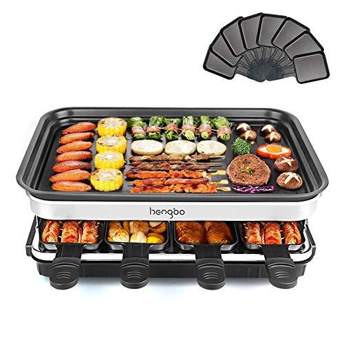 Raclette Grill für 8 Personen | 8 Mini Raclette Pfännchen zum Kochen von Käse und Beilagen & Ein Holzspatel Raclette | Flexibler Temperaturregelung | Große Quadratische Antihaft-Kochfläche | 1500W