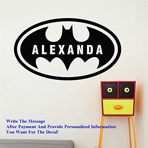 wandaufkleber blumen fer Dekoration Batman Benutzerdefinierte Name Bat Jungen Zimmer Wandtattoo Boy Name Wandaufkleber Abziehbilder Kinderzimmer