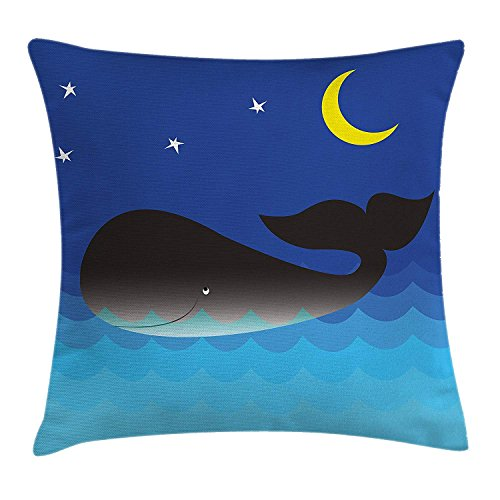 ZMYGH Whale Decor Throw Pillow Cushion Cover, Lovely Whale in The Ocean with Moon and Stars Great for Kids Room, Decorative Square Accent Pillow CaseBlue Grey and Light Blue 18x18inches -