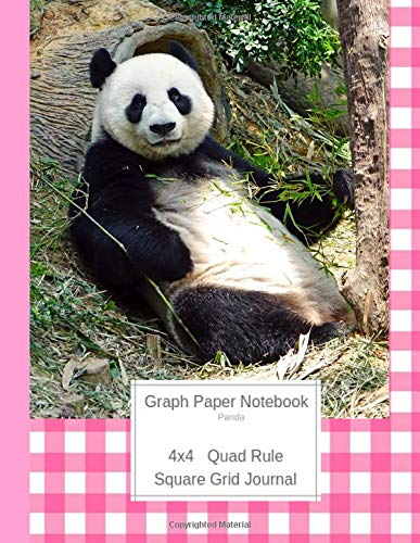 Graph Paper Notebook Panda: Large Quad Rule 4x4 Square Grid Journal (Graph Paper 4x4 Book, Band 6) -