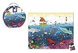 Janod - J02947 - Valisette Ronde Puzzle 100 pièces Le Monde Sous-Marin