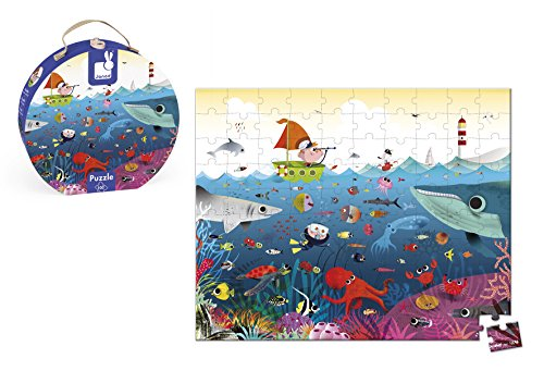 Janod Puzzle 100 pieces with round suitcase, The Underwater World (J02947)