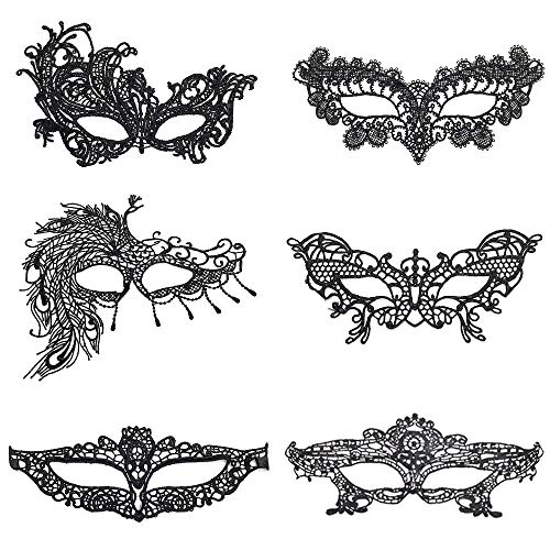 Masquerade Princess Kostüm - LATTCURE Masquerade Masken 6er Set Spitzenmaske Party Princess Queen Lace Ausschnittmaske Schwarze Augenmaske Karneval Maskerade für Hallween Kostüm Karneval Party