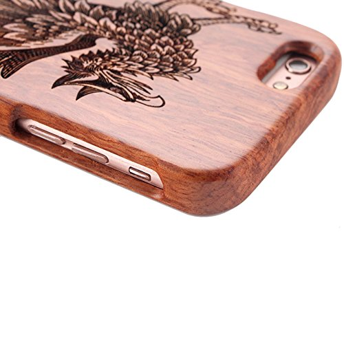 Naturholz Hülle für iPhone 7 - Forepin® Echt Rosenholz Schutzhülle Elegantes Design Bumper Case Cover mit Kompass Muster Ihr Apple iPhone 7 (4.7 Zoll) Smartphone Einhorn