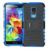Coque Galaxy S5 mini,S5 mini Coque, Fetrim Armor Support Protection Étui,anti chocs Bumper Étui Hybride protection Housse Cover pour Samsung Galaxy S5 mini (Bleu)