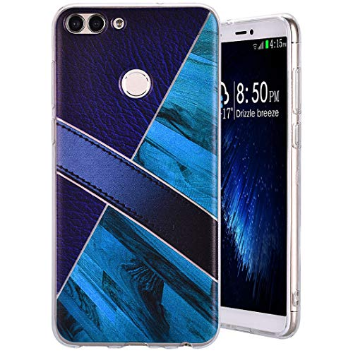 MeganStore Coque For Huawei P Smart,Patchwork Géométrique Multicolore Étui Ultra Mince Léger Silicone TPU Souple Bumper Case Antichoc Anti-Rayures Housse For Huawei P Smart/Enjoy 7S,Violet + Bleu
