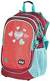 Baagl Kinderrucksack für Mädchen, Schulrucksack für Kinder mit ergonomisch geformter Rücken, Brustgurt und reflektierende Elemente (Rot/Türkis)
