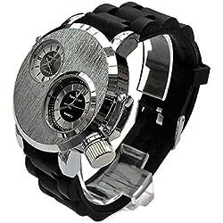 QBD Men's Large Watch. Dual Time Zones- Big 5cm Dial - Long 18-24cm-Strap- (silver face/rubber)