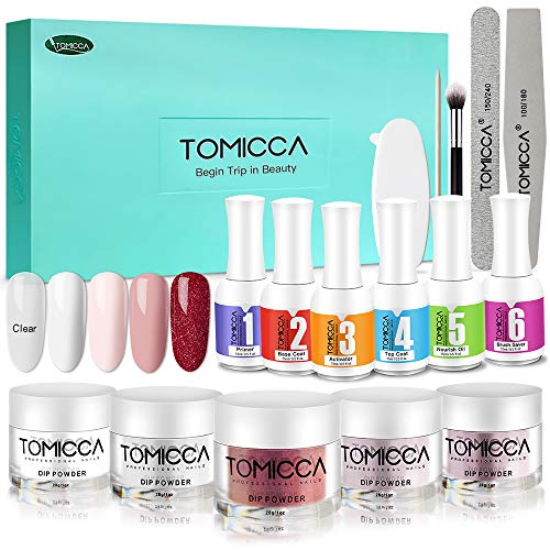 Tomicca dip powder kit polvere acrilico per unghie smalto in polvere kit per immersione acrilico unghie polvere liquida unghie set nail art (con base, attivatore,top, bond e brush saver)