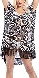 LA LEELA Copricostume Mare Donna Pizzo Camicia - Copribikini in Chiffon sui Costume da Bagno - Kimono Vestito Corto Estate Boho Hippie Kaftan Tunica Etnica Abito da Spiaggia Nero_X951