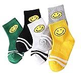 5 Par Calcetines de Canalé para Niños Algodón Invierno Calcetines Calientes con Print Emoji Cara Sonriente de Adorable Cartel, para Niños Niñas 3-5