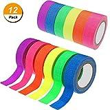 12Rollen fluoreszierendes Stoffklebeband (reaktiv unter UV-Schwarzlicht), in 6Neonfarben, für leuchtende Partydekorationen, 1,5cm x 5m
