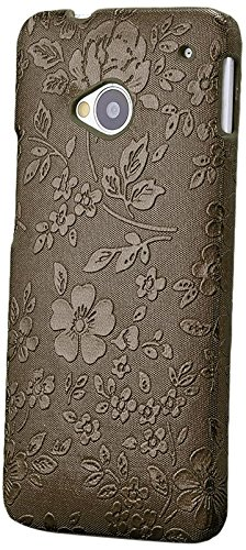 HTC One M7 | iCues Chrom Blumen Case Braun | [Display Schutzfolie Inklusive] Floral Damen Frauen Mädchen Strass Glitzer Glitter Luxus Bling Damen Frauen Mädchen Chrome Schutzhülle Hülle Cover Schutz