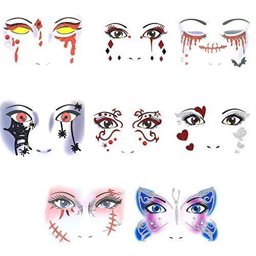 Halloween Grafiken Frei - WWK Halloween Gesicht Tattoo Aufkleber, temporäre