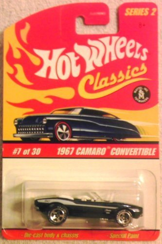 Hot Wheels Classics Series 2 - 1967 Camaro Convertible (Black with White Stripes) #7 of 30 - Scale 1:64 by Hot Wheels
